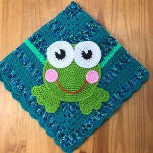 """NEW Handmade Crochet Baby Blanket - Frog - 29"""""""